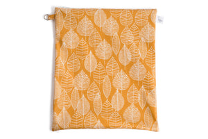 Large Wet Bag - Mustard Fabric with White Leaf Line Drawings