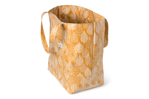 Large Tote Bag - Mustard Fabric with White Leaf Line Drawings