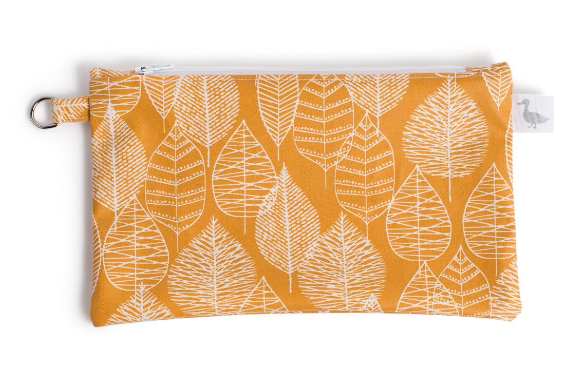 Small Sized Zipper Topped Bag - Mustard Fabric with White Leaf Line Drawings