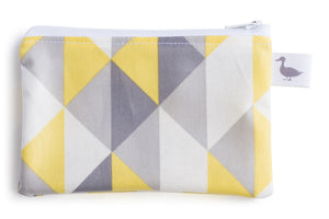 Coin Purse - Grey, Yellow and White Geometric Pattern