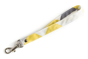 Wrist Strap or Key Chain - Yellow, Grey and White Triangles Fabric