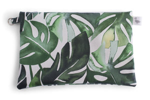 Medium Sized Zipper Topped Bag - Various Green Philodendron Leaves on a White Fabric