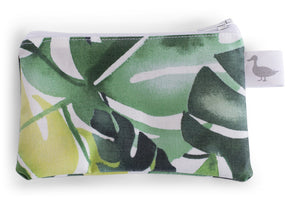 Coin Purse - Various Green Philodendron Leaves on a White Fabric
