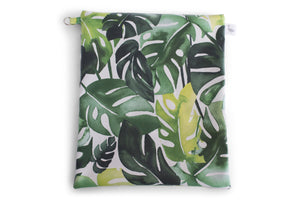 Water Resistant Large Zipper Pouch - Various Green Philodendron Leaves on a White Fabric