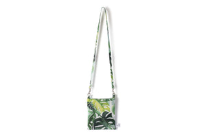 Small Crossbody Purse - Various Green Philodendron Leaves on a White Fabric
