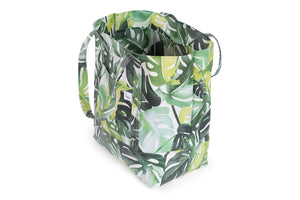 Large Tote Bag - Various Green Philodendron Leaves on a White Fabric