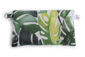Small Sized Zipper Topped Bag - Various Green Philodendron Leaves on a White Fabric