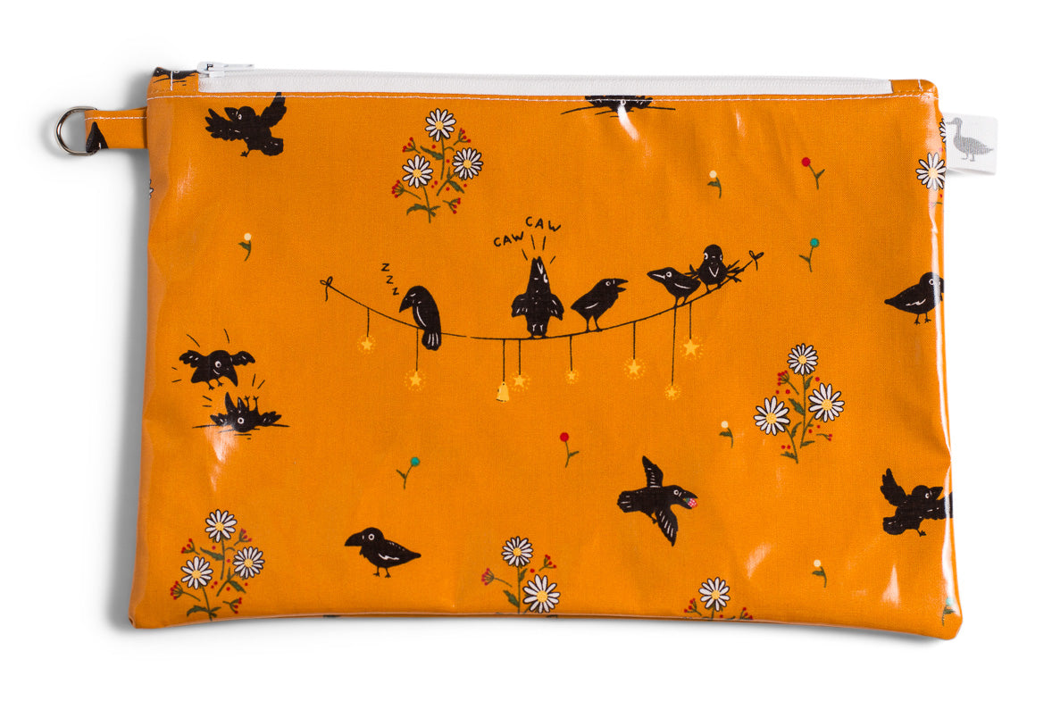 Medium Sized Zipper Topped Bag - Small Black Crows and Daisies on Mustard Fabric