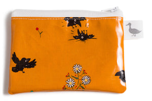 Coin Purse - Small Black Crows and Daisies on Mustard Fabric