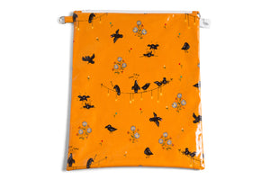 Large Sized Zipper Topped Bag - Small Black Crows and Daisies on Mustard Fabric