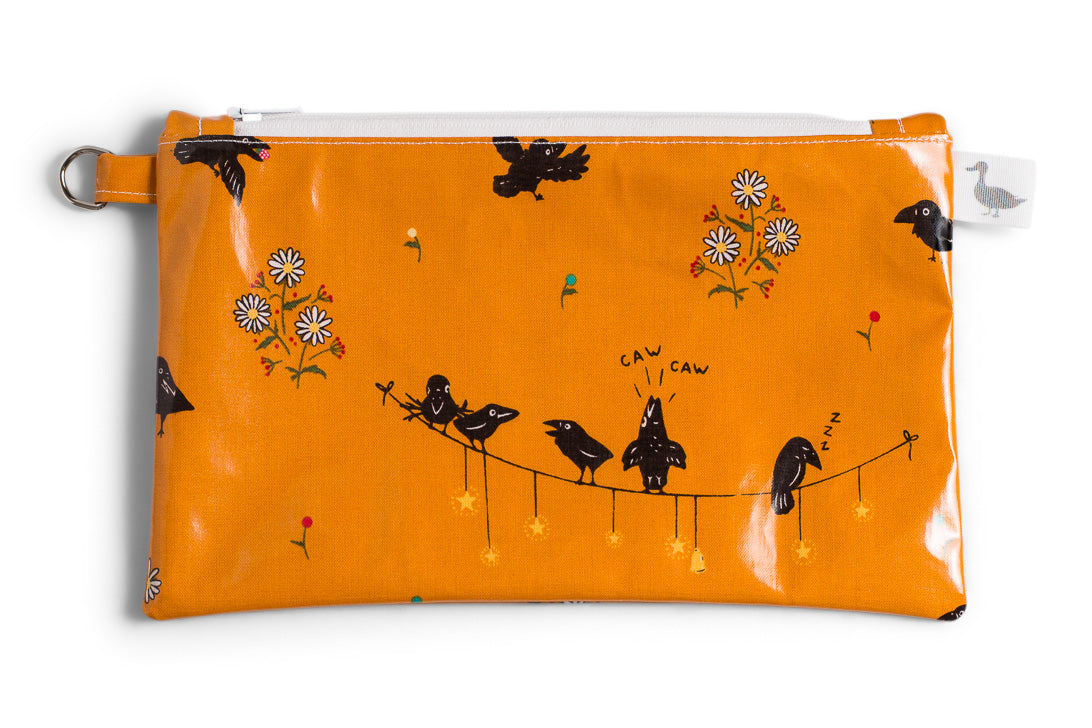 Small Sized Zipper Topped Bag - Small Black Crows and Daisies on Mustard Fabric