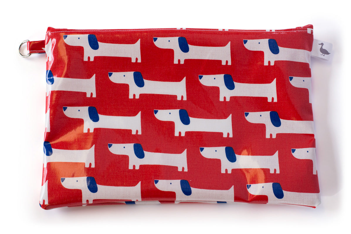 Medium Sized Zipper Topped Bag - Red Dog Fabric