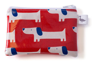Coin Purse - White and Blue Dogs on Red Fabric