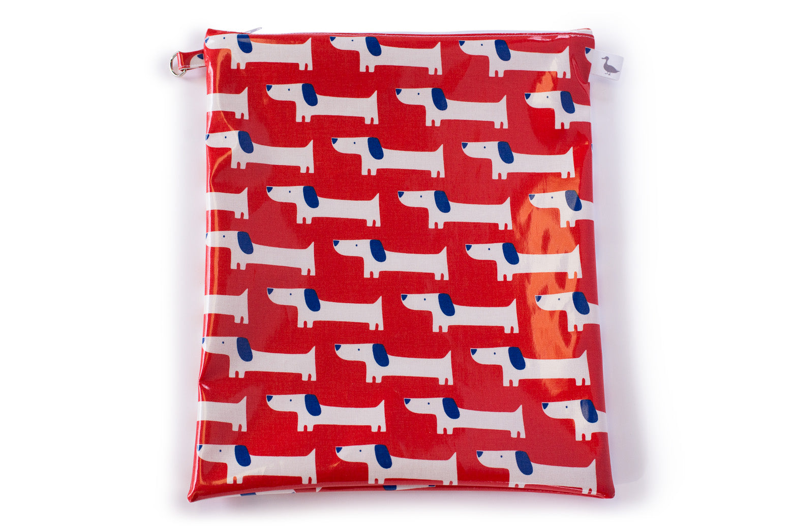 Large Zippered Bag - Red Fabric with white and blue dogs