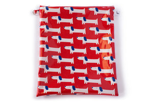 Large Wet Bag - Red Fabric with white and blue dogs