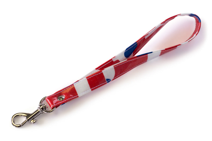 Wrist Strap or Key Chain -  White Dogs on Red Fabric