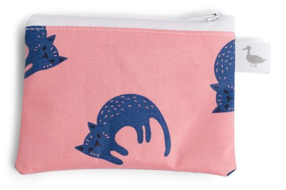 Coin Purse - Pink with Blue Cats Fabric