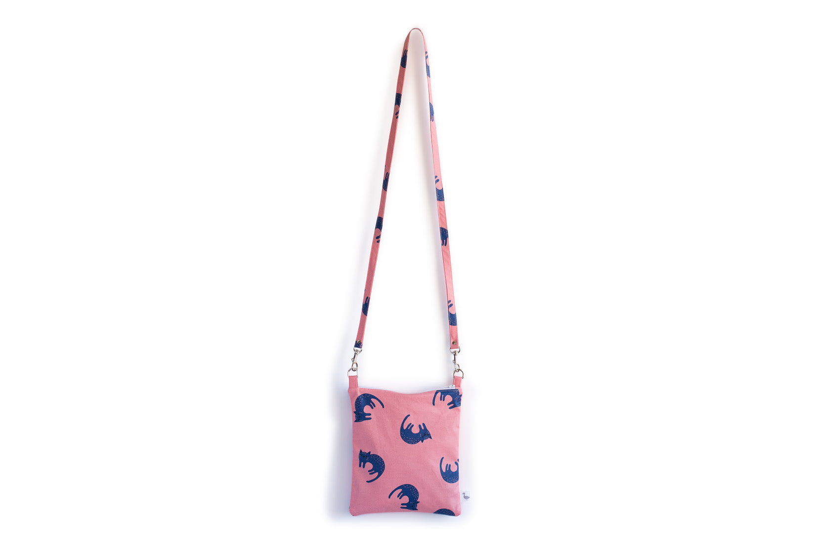 Small Cross Body Bag with Pink with Blue Cats Fabric