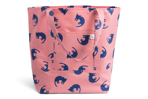 Large Tote Bag - Pink with Blue Cats Fabric