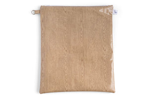 Large Sized Zipper Topped Bag - Light Wood Grain Fabric