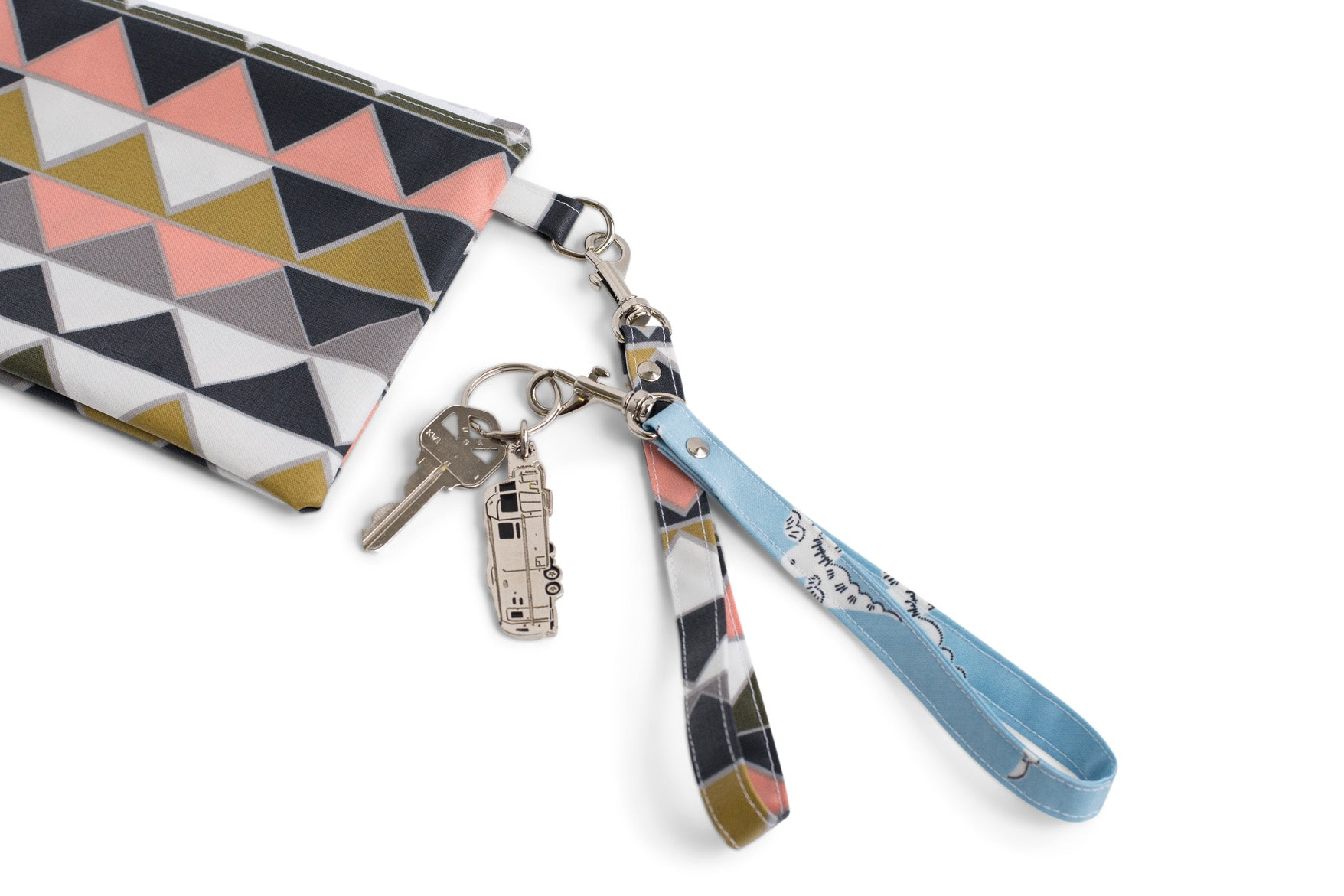Wrist Strap or Key Chain - Pink with Blue Cats Fabric