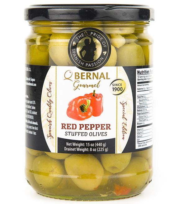 Bernal Gourmet Red Peppers stuffed olives 440g