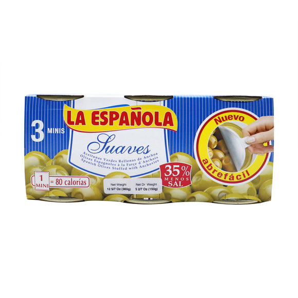 LA ESPAÑOLA Manzanilla Olives Stuffed with Anchovies (Low Sodium)