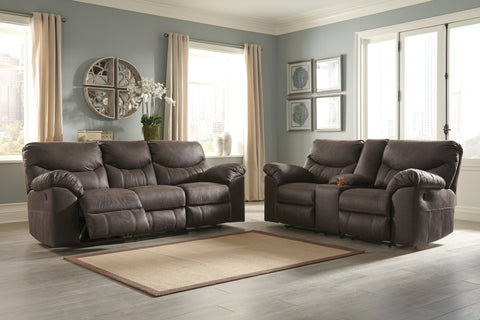 Boxberg - Teak - Reclining Sofa/Loveseat with Console