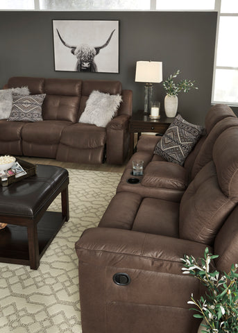 Jesolo - Coffee - Reclining Sofa/Loveseat with Console