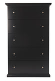 Maribel - Black - Five Drawer Chest