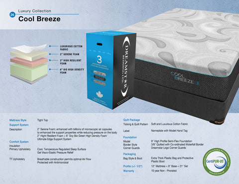 Dreamstar Bedding - Cool Breeze Tight Top Memory Foam - Queen Mattress