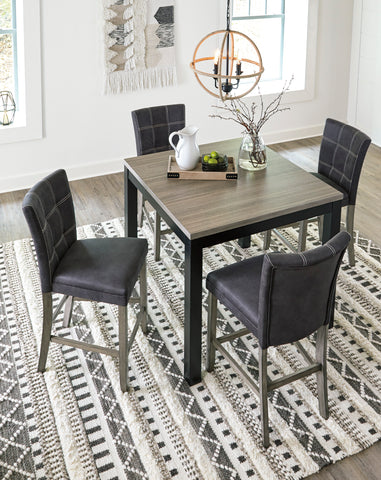 Dontally - Two-Tone - Square Counter Table/4 Chairs