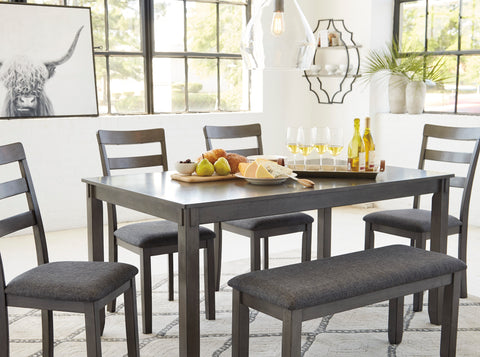 Bridson - Grey - Table/4 Chairs/Bench