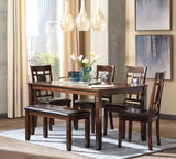 Bennox - Brown - Table/4 Chairs/Bench