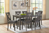 Caitbrook - Gray - Table/6 Chairs