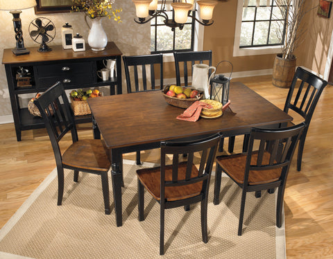 Owingsville - Black/Brown - Table/6 Chairs