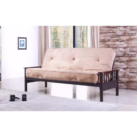Futon Matt with Wooden Arm Metal Frame - Coffee