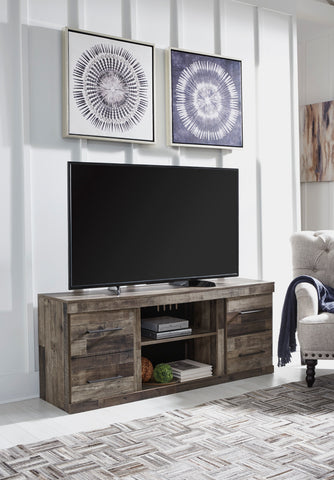 Derekson - Multi Gray - LG TV Stand w/Fireplace Option