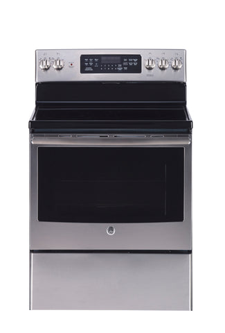 "GE 30"" 5.0 Cu. Ft. Self-Clean True Convection Freestanding Smooth Top Electric Range-Stainless Steel"