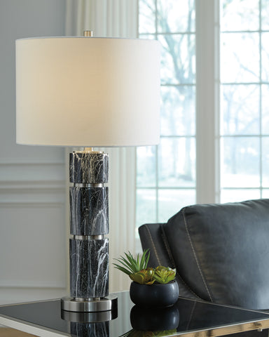 Maricela - Black/White - Poly Table Lamp Set
