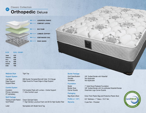 Dreamstar Bedding - Orthopedic Deluxe - Twin/Single Mattress