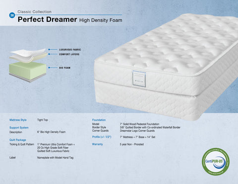 Dreamstar Bedding - Perfect Dreamer High Density Foam - Twin/Single Mattress