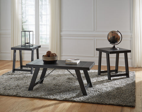 Noorbrook - Black/Pewter - Coffee Table Set