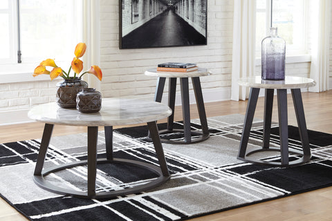 Luvoni - White/Dark Charcoal Gray - Occasional Table Set