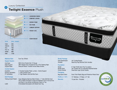 Dreamstar Bedding - Twilight Essence Plush - Queen Mattress
