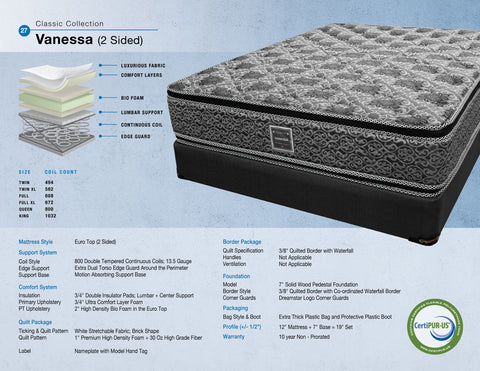 Dreamstar Bedding - Vanessa II 2 Sided Pillow Top - Queen Mattress