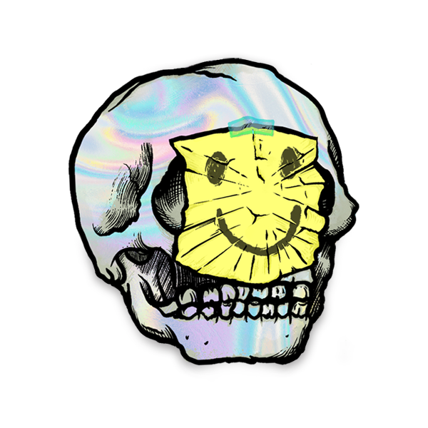 Holographic Sticky Note Skull Sticker