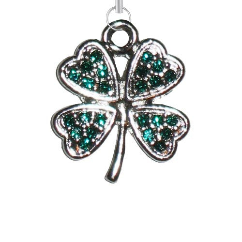 Green Clover w/ Stones Purse Charm