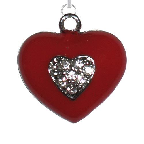 Red Heart w/ Clear Stones Charm - Charm14