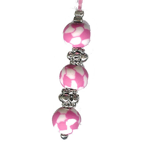 Pink White Soccerball Clay Beads Charm - Charm14